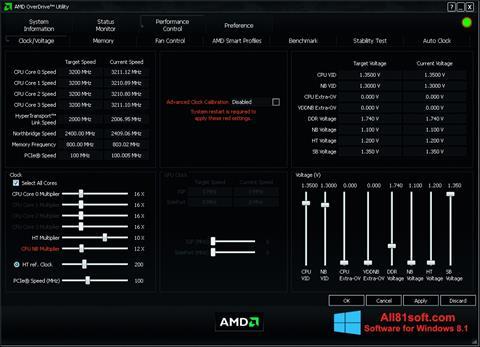 Zrzut ekranu AMD Overdrive na Windows 8.1