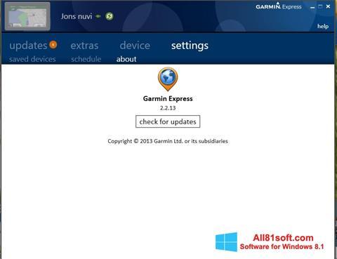 Zrzut ekranu Garmin Express na Windows 8.1